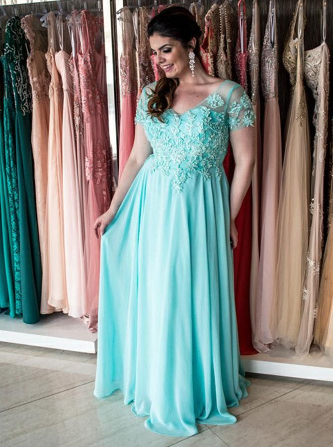 A-Line V-Neck Turquoise Chiffon Plus Size Prom Dress with ...
