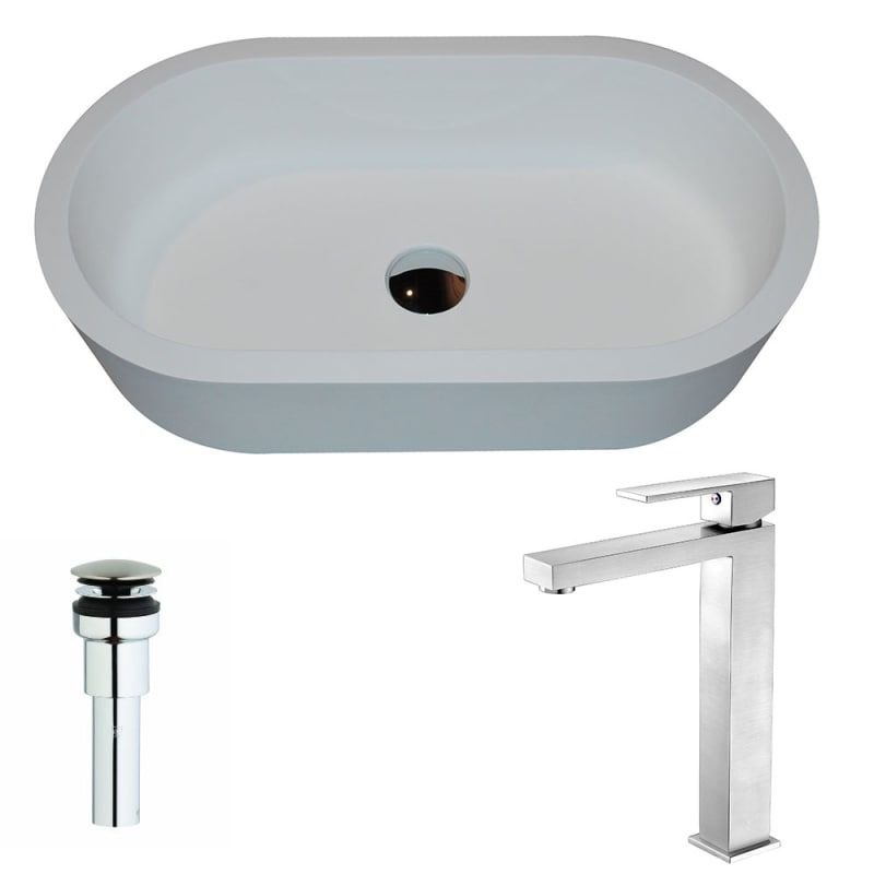 Anzzi Lsaz607 096 Vaine Brass And Stone Deck Mounted Or Vessel Bathroom Sink Wit White Matte Brushed Nickel Fixture Lavatory Sink Combination In 2020 Sink Bathroom Sink Faucets Faucet
