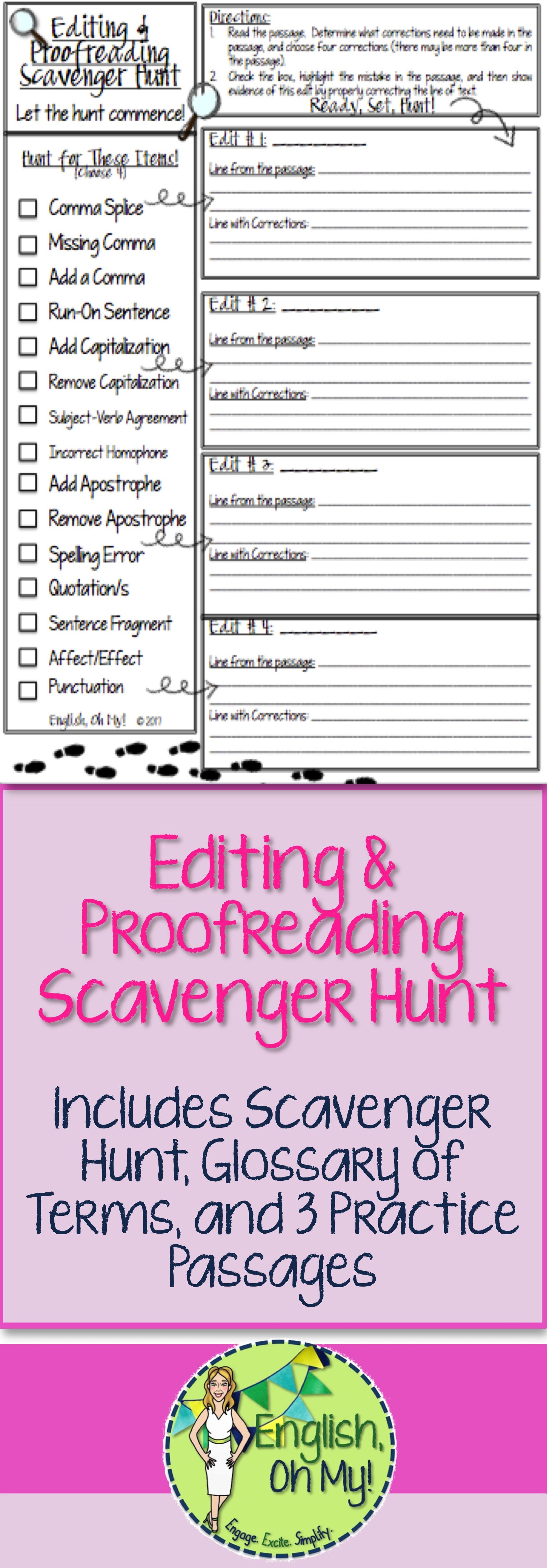 Editing Proofreading Scavenger Hunt With Images