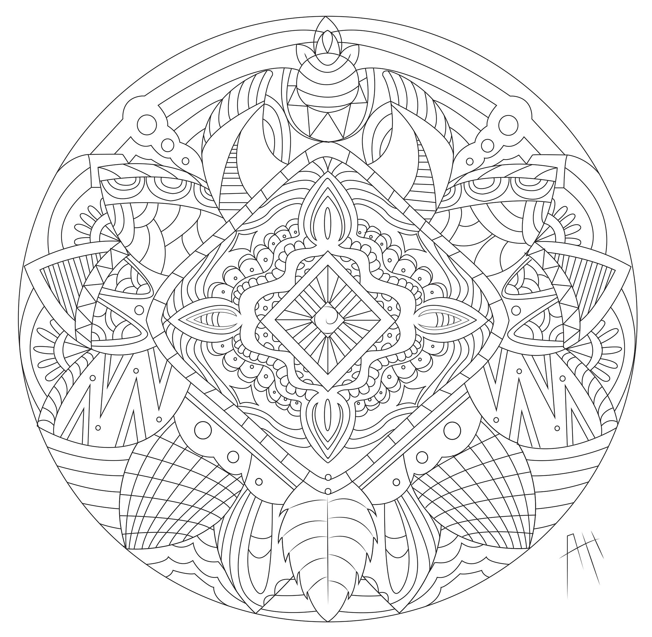 Mandala With Flowers And Feathers Mandalas Coloring Pages For