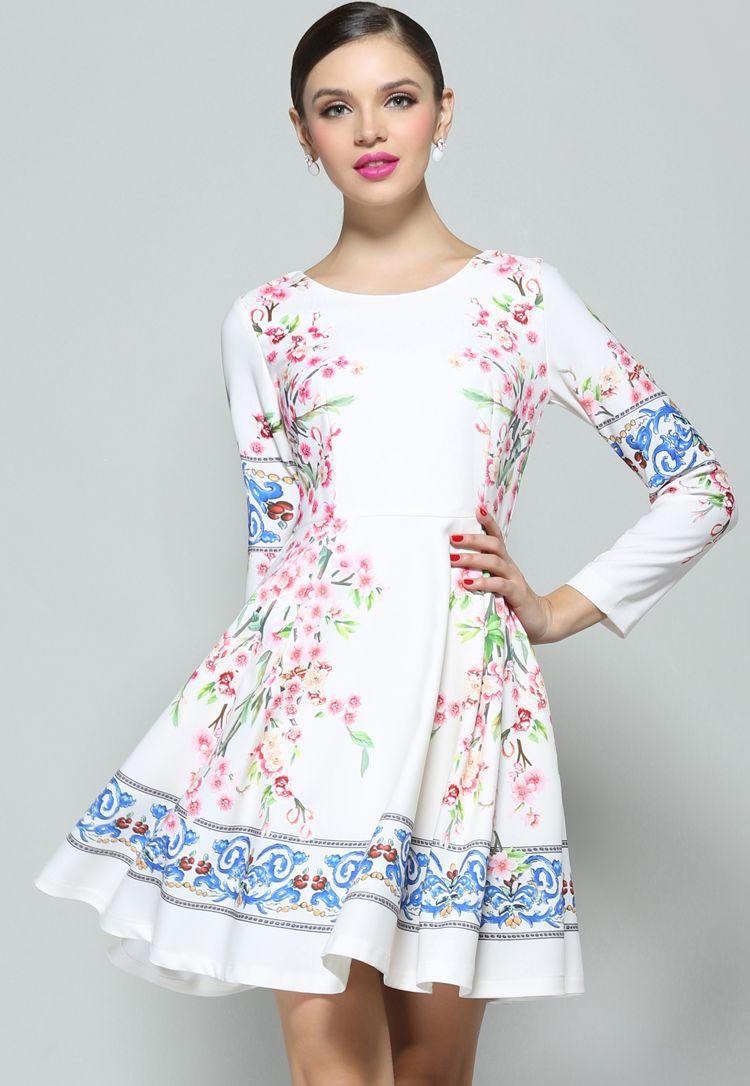 Vestido plisado floral manga larga-Blanco EUR€49.82 ...