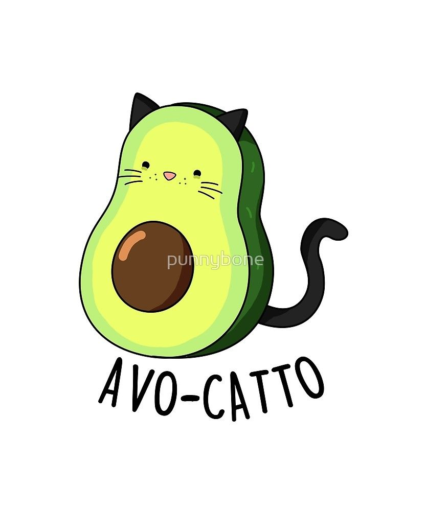 'Avo-catto Animal Food Pun' Sticker by punnybone