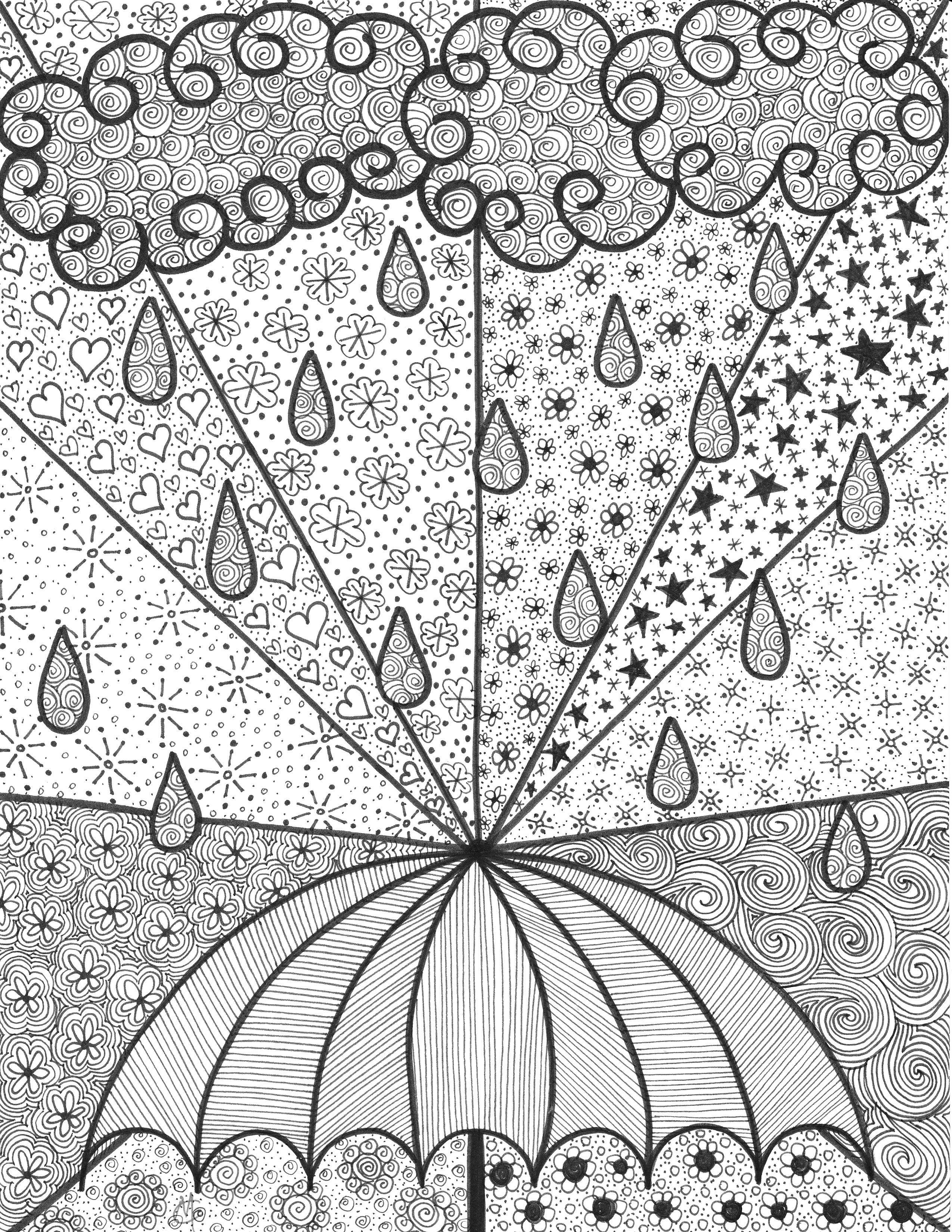 Umbrella - An original artwork by Cat Magness   zentangle ...