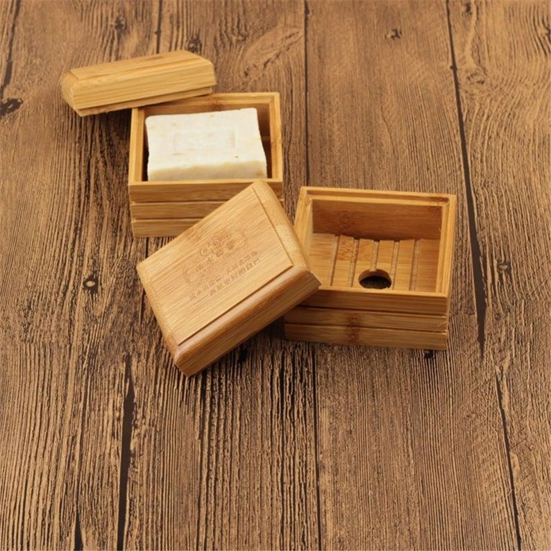 Travel Soap Dish Box Soap Case Holder EcoFriendly Bamboo