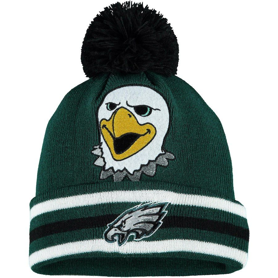 192c871e87d Preschool Philadelphia Eagles Midnight Green Mascot Trooper Cuffed Knit Hat  With Pom