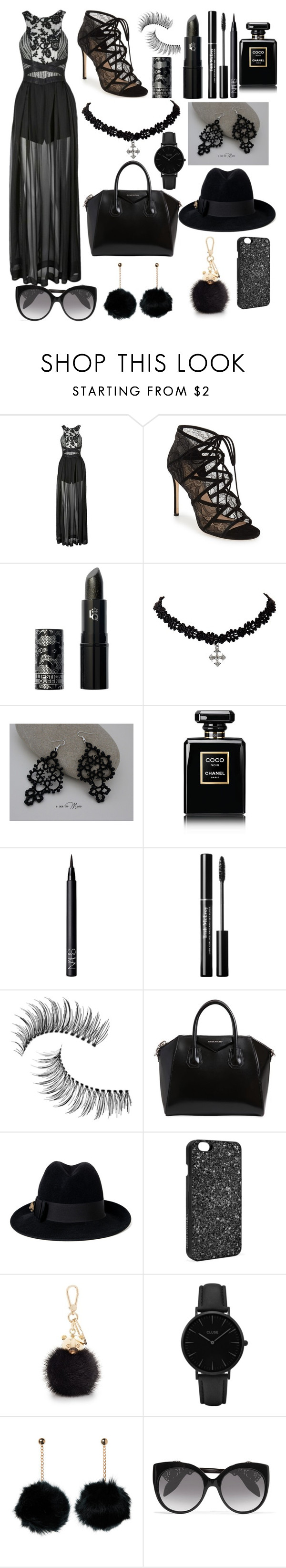 """Luscious Lace"" by juicypiggy ❤ liked on Polyvore featuring Three Floor, Pour La Victoire, Lipstick Queen, Chanel, NARS Cosmetics, Trish McEvoy, Givenchy, Gucci, Victoria's Secret and Furla"