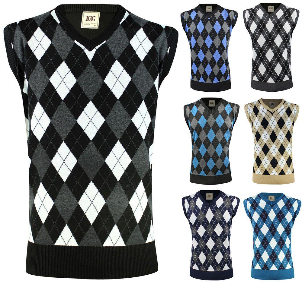 Details about Mens Knit Sweater Vest Argyle Pullover V Neck Fitted ...