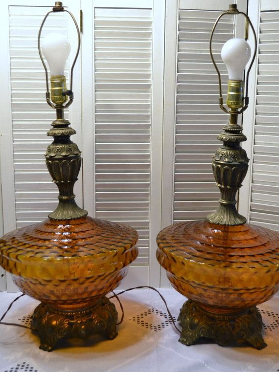 Vintage Table Lamp Set Of 2 Amber Glass And Brass Bohemian