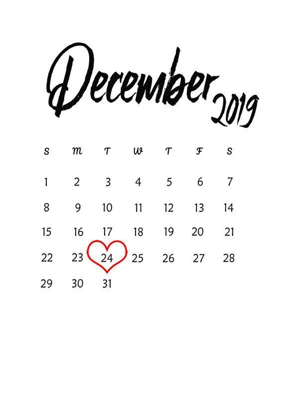 December 2019 Modern Typography Calendar December 2019 Baby Due Date Announcement Printable Calendar