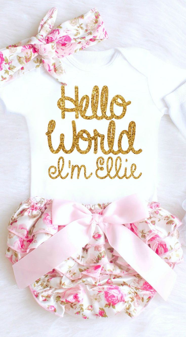 07fb69c8556b5 Baby Girl Coming Home Outfit with Floral Bloomers Personalized Baby Onesie