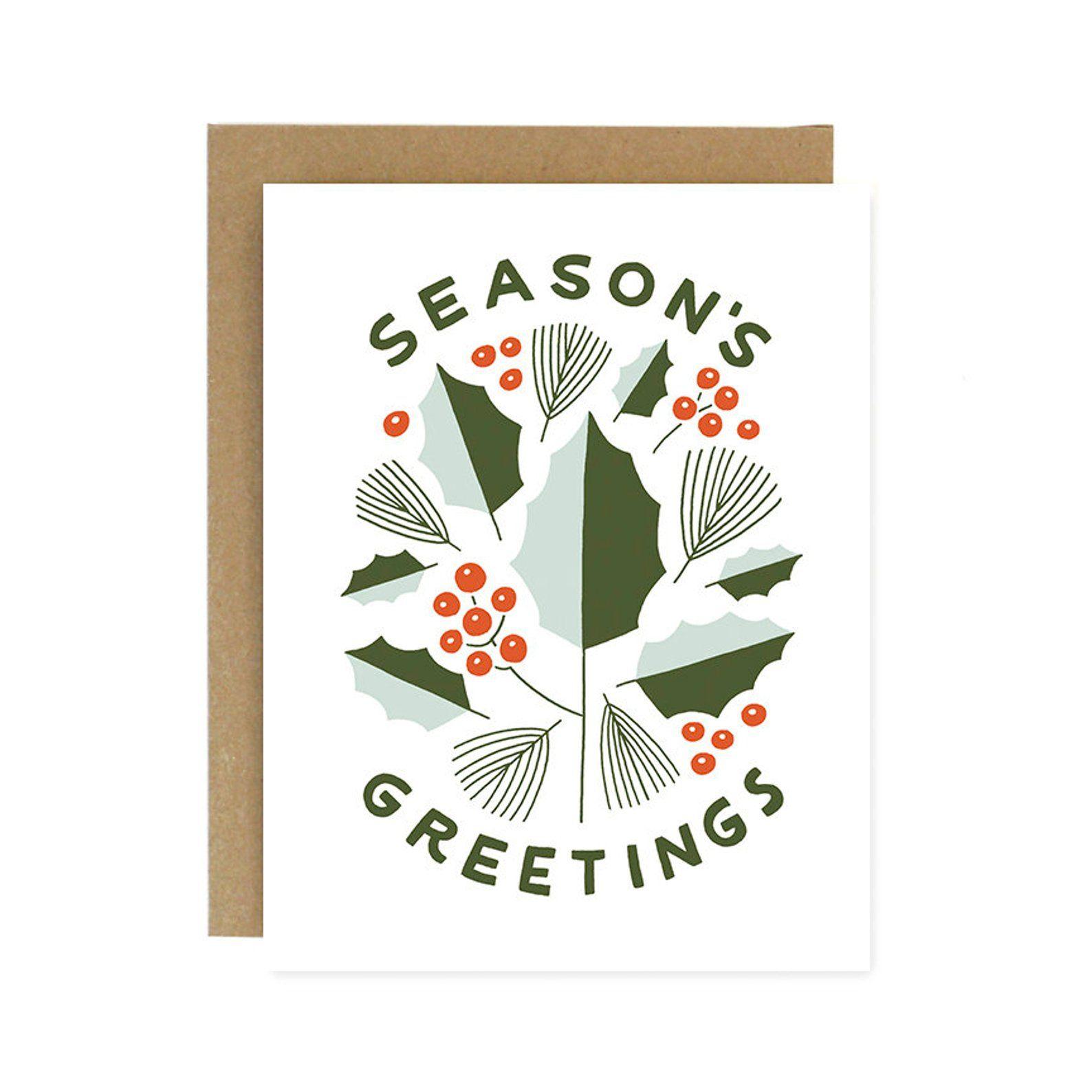 Season's Greetings Holly Card Cards, Holiday greeting