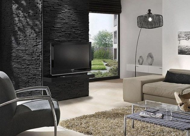 steinwand wohnzimmer design deko interieur f r haus wohnung magazine lifestyle. Black Bedroom Furniture Sets. Home Design Ideas