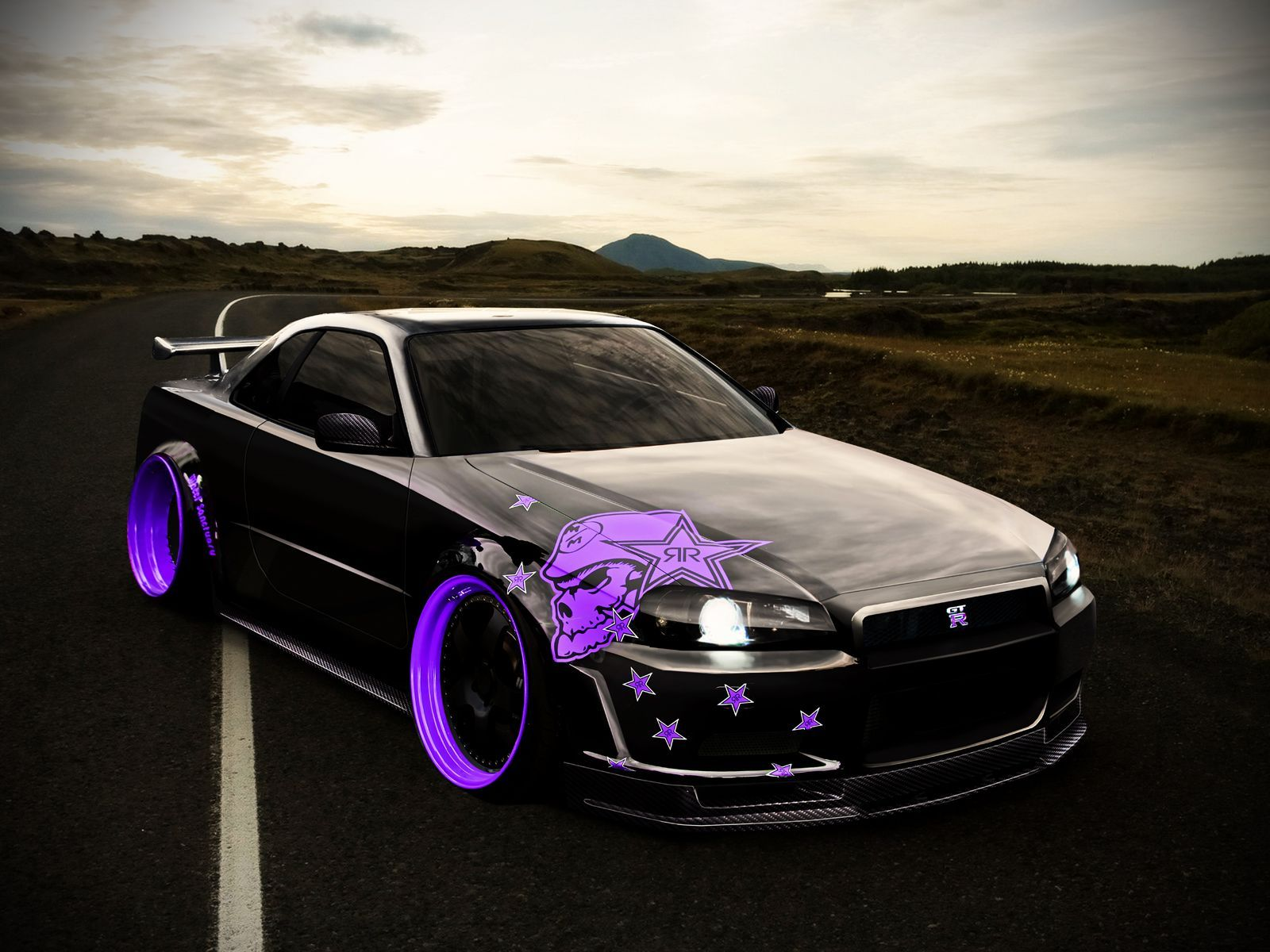 Nissan skyline gtr i really don t like the skull design but the royal purple wheels are exactly what i want