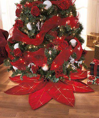 Poinsettia Tree Skirt - Wall\u0027s Furniture  Decor Christmas - Home