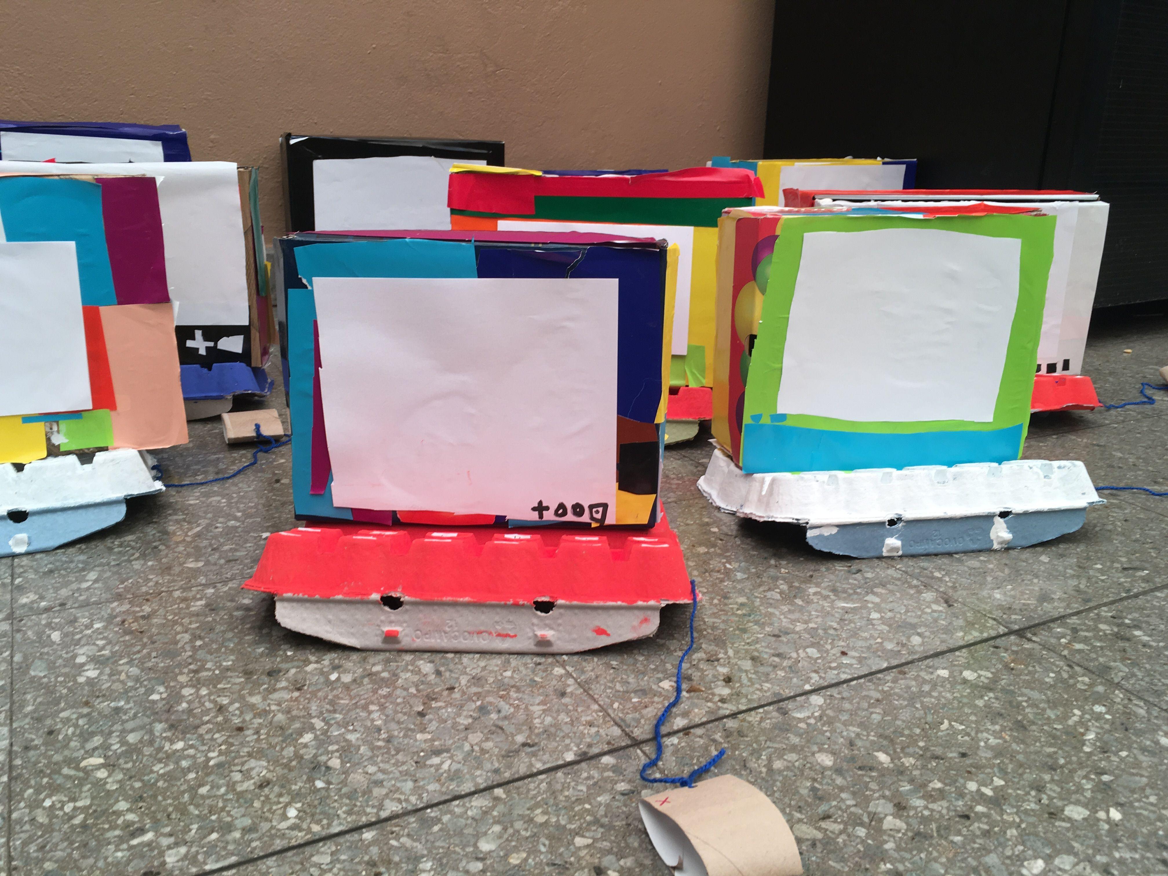 Computador Con Caja De Zapatos Y De Huevos Art Class Pinterest  ~ Cajas Transparentes Para Zapatos