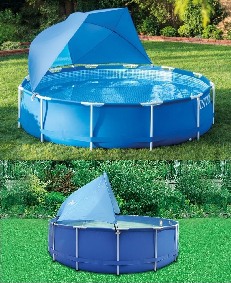 Intex Pool Canopy Tent Cast Shade Half Dome Design Above Swimming Pool Blue  E  A