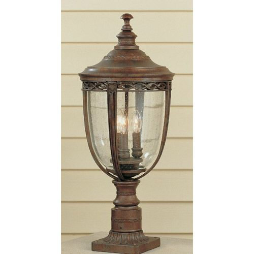 Feiss English Bridle Medium Pedestal Lantern Light Black: English Bridle Outdoor Post/Pier Mount Feiss Post Mounted
