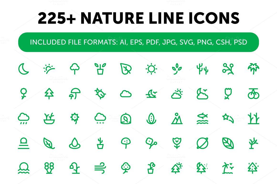225 Nature Line Icons Set Line Icon Web Design Icon Icon Set