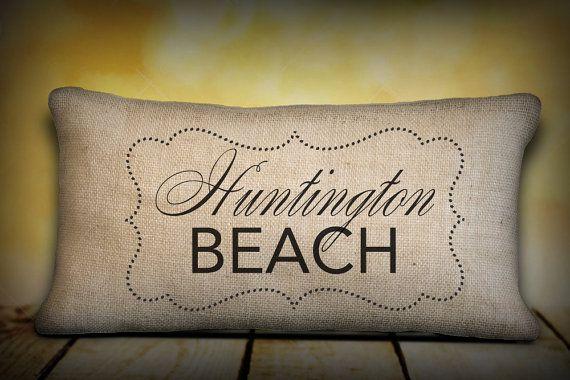 Burlap pillow  Huntington Beach  California by LoveYouMoreBoutique, $37.00