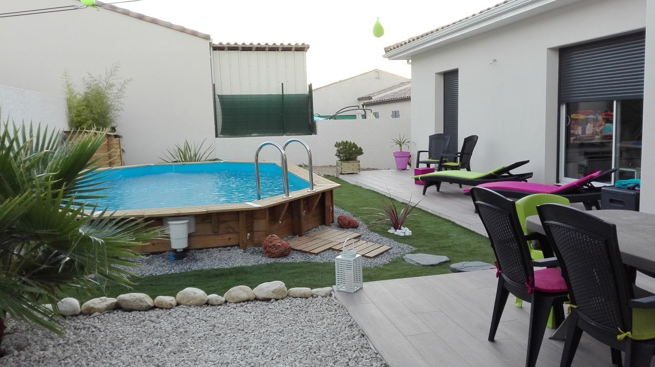 Amenagement Jardin Avec Piscine Bois aménagement du jardin avec piscine bois semi enterrée en