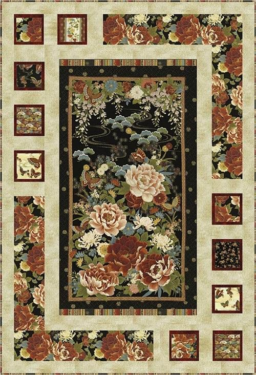 Oriental Harmony Quilt Kit Quilting Fabric Panel