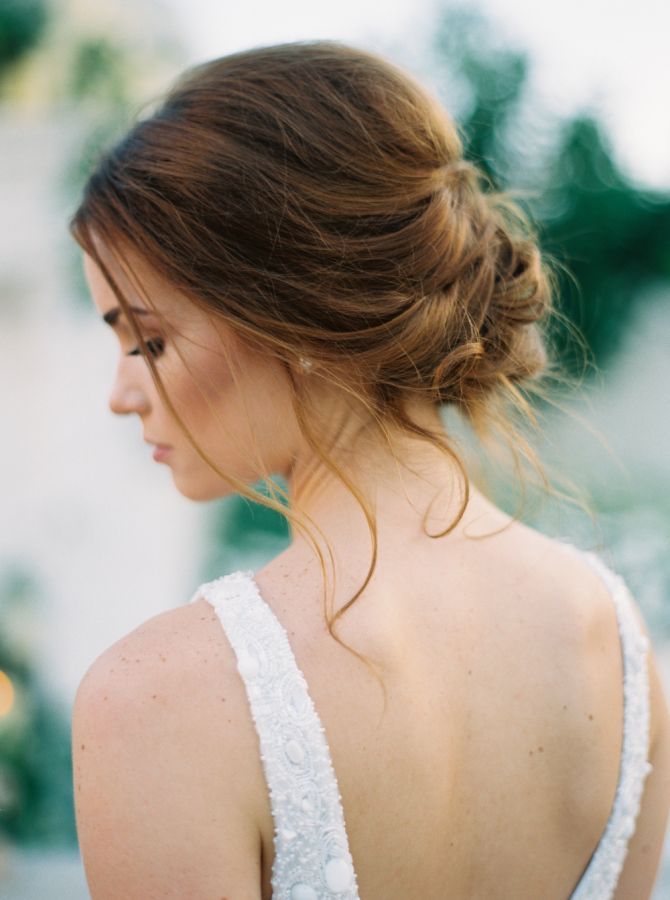 Romantic twisted updo: http://www.stylemepretty.com/2016/03/15/neutral-elegant-outdoor-wedding-inspiration/ | Photography: Greer Gattuso - http://www.greergphotography.com/