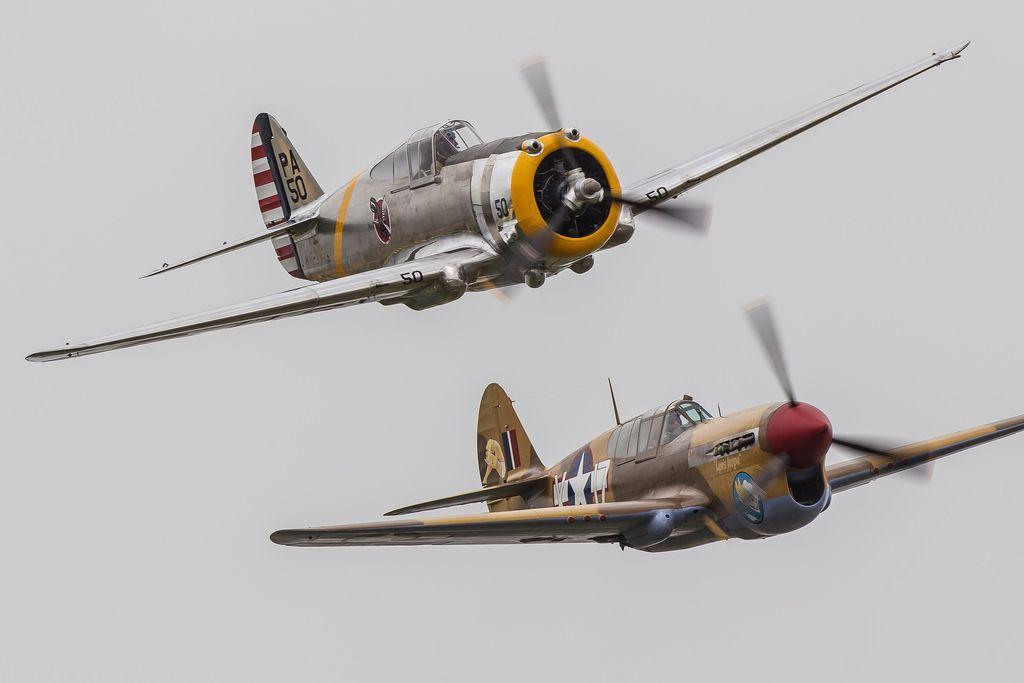 Curtiss P-36C N80FR with Curtiss Warhawk P40F G-CGZP