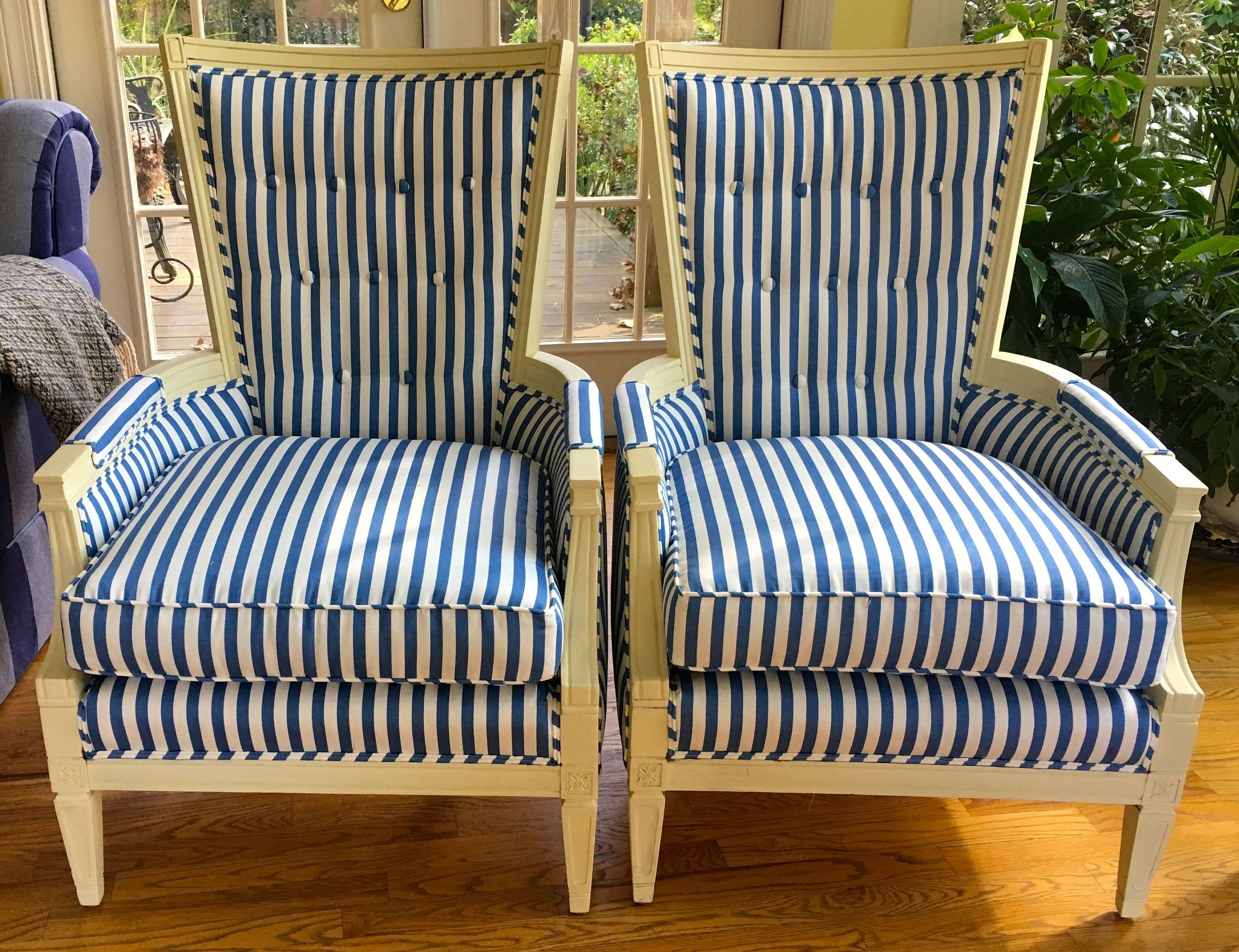 Pair of French Style Blue & White Striped Chairs with