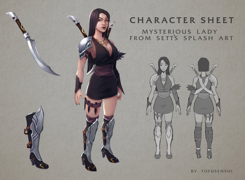Mysterious Girl From Sett S Splash Art Character Sheet Mysterious Girl Character Sheet My Arts