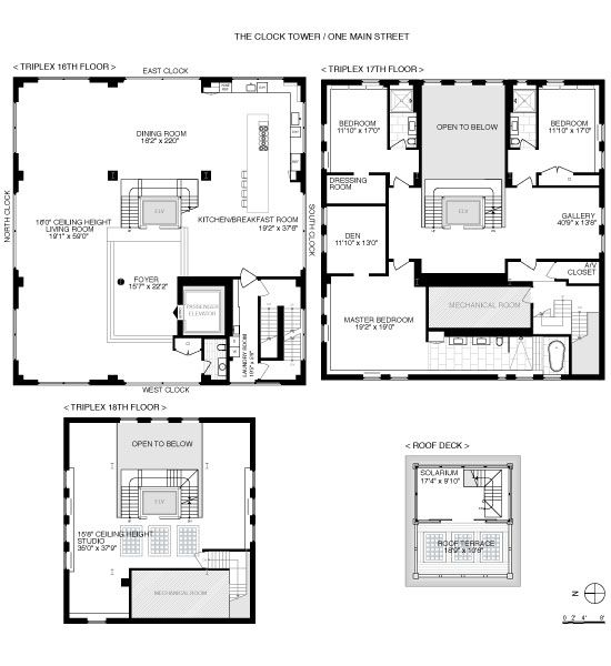 Clock tower penthouse floor plans brooklyn new york 2 for New york house plans