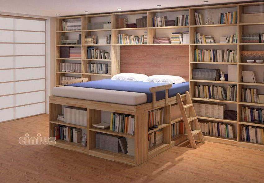 Letto Biblioteca Con Libreria E Scaffali Letto Salvaspazio
