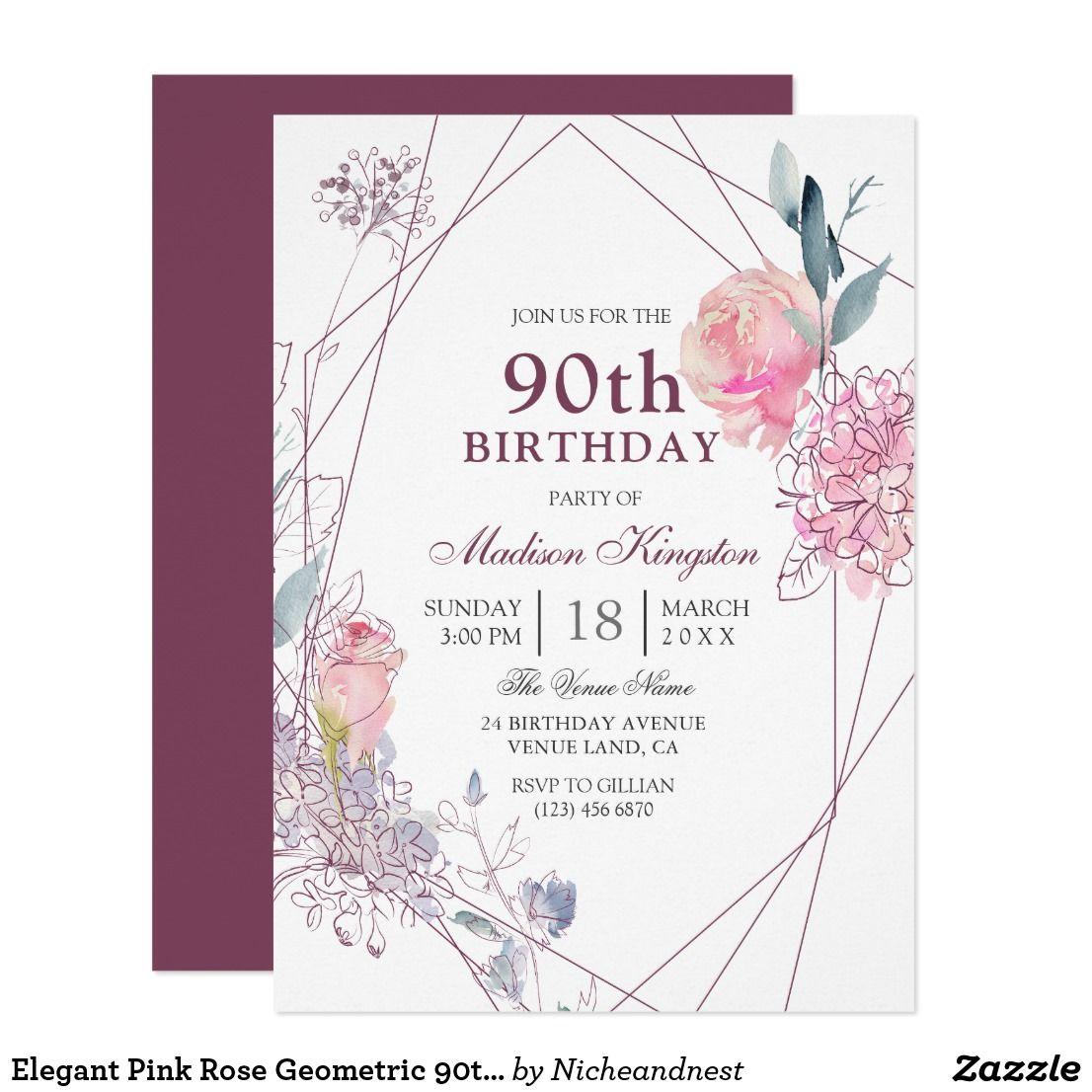 Elegant Pink Rose Geometric 90th Birthday Party Invitation   { Happy ...
