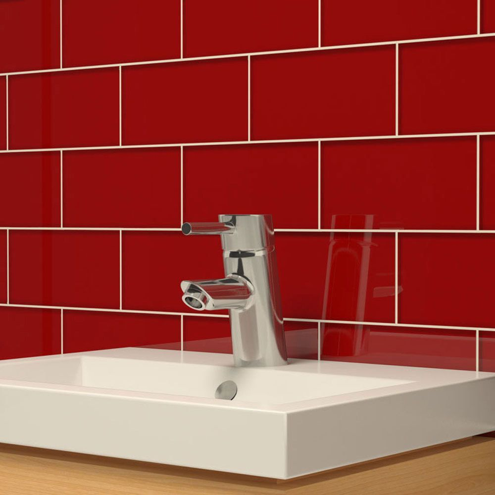 Giorbello Ruby Red Subway 5.5 Square Foot Tiles (44 Pieces Per Unit) (Ruby  Red), Size 3 X 6