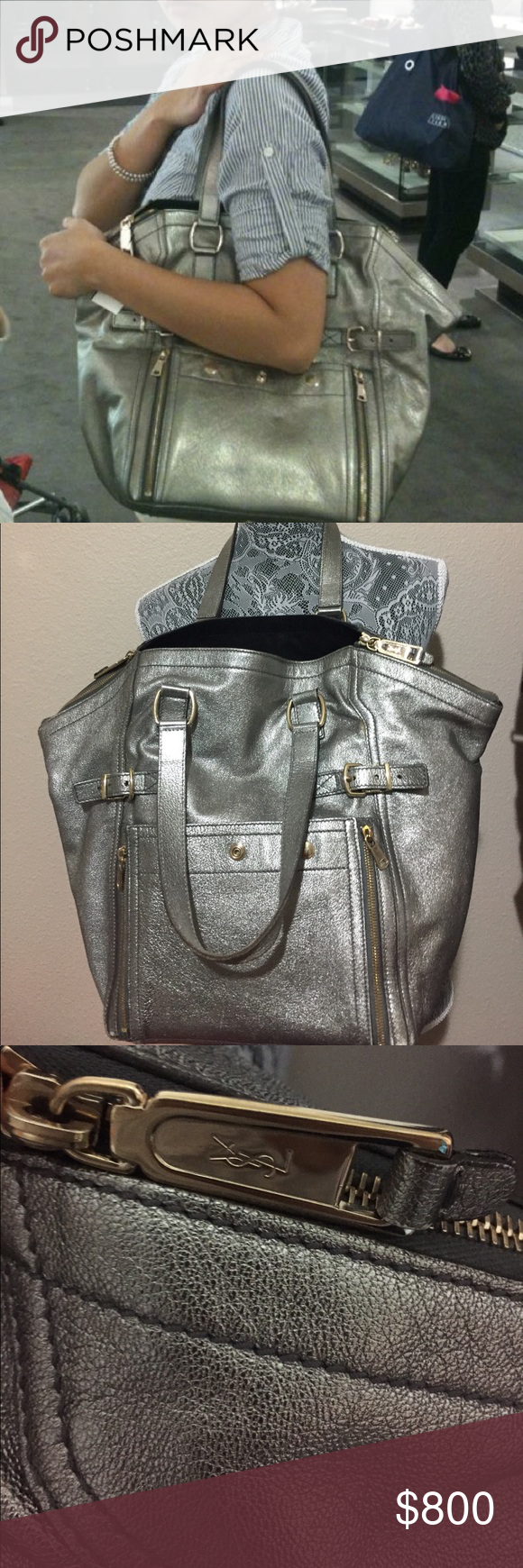 ead22cc4244 Authentic Metallic YSL Downtown Tote This iconic YSL Tote is a must to add  to any closet! Hardware is light gold. Preloved with some scuffs to front,  sides, ...