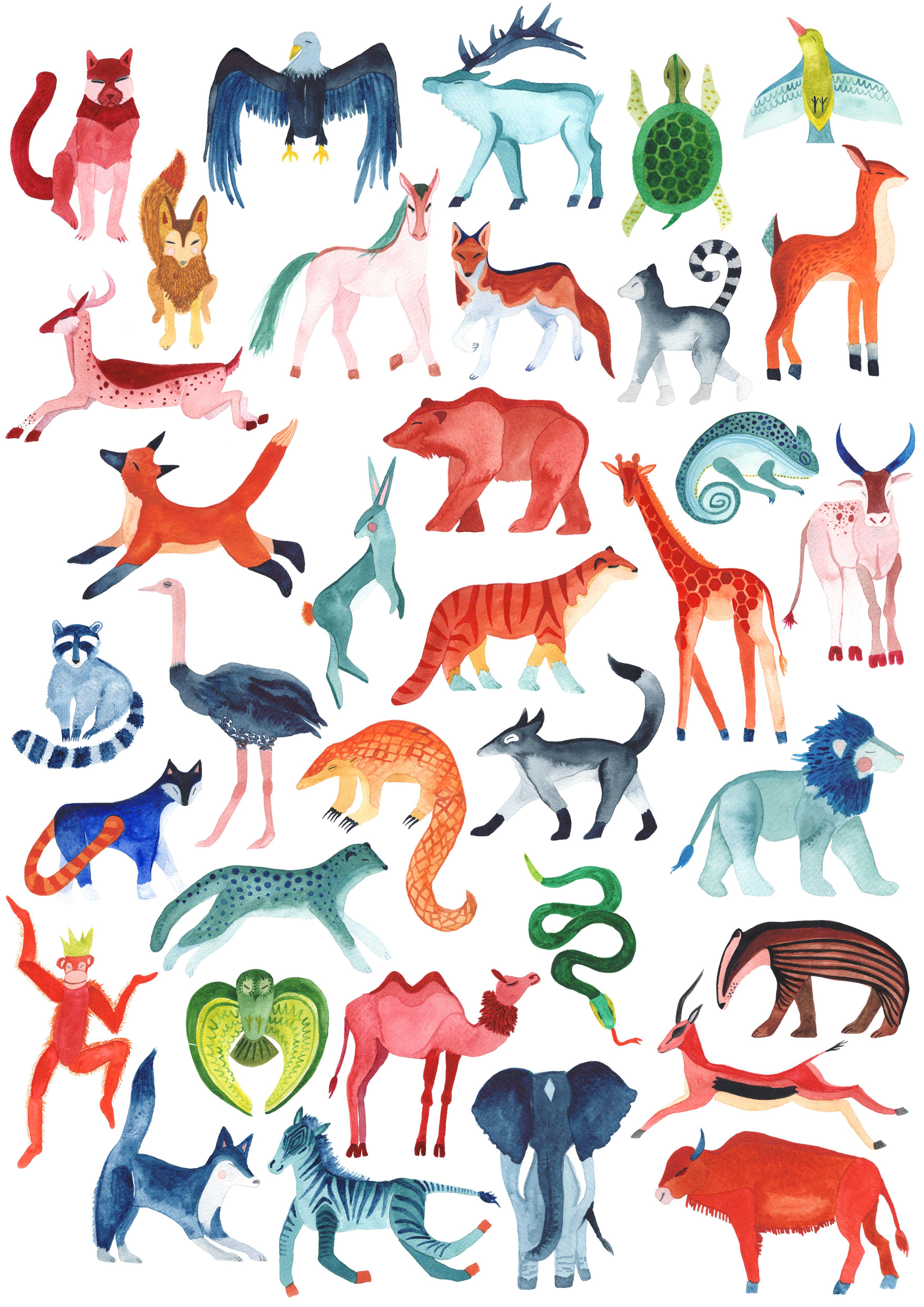 Colourful Animal Safari Nursery Wall Art New Baby Gift Colorful