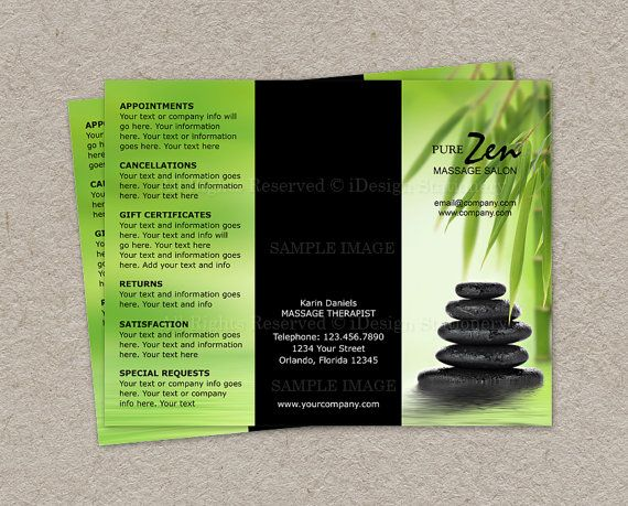 Massage Business Brochure Design Custom By IDesignStationery - Spa brochure templates