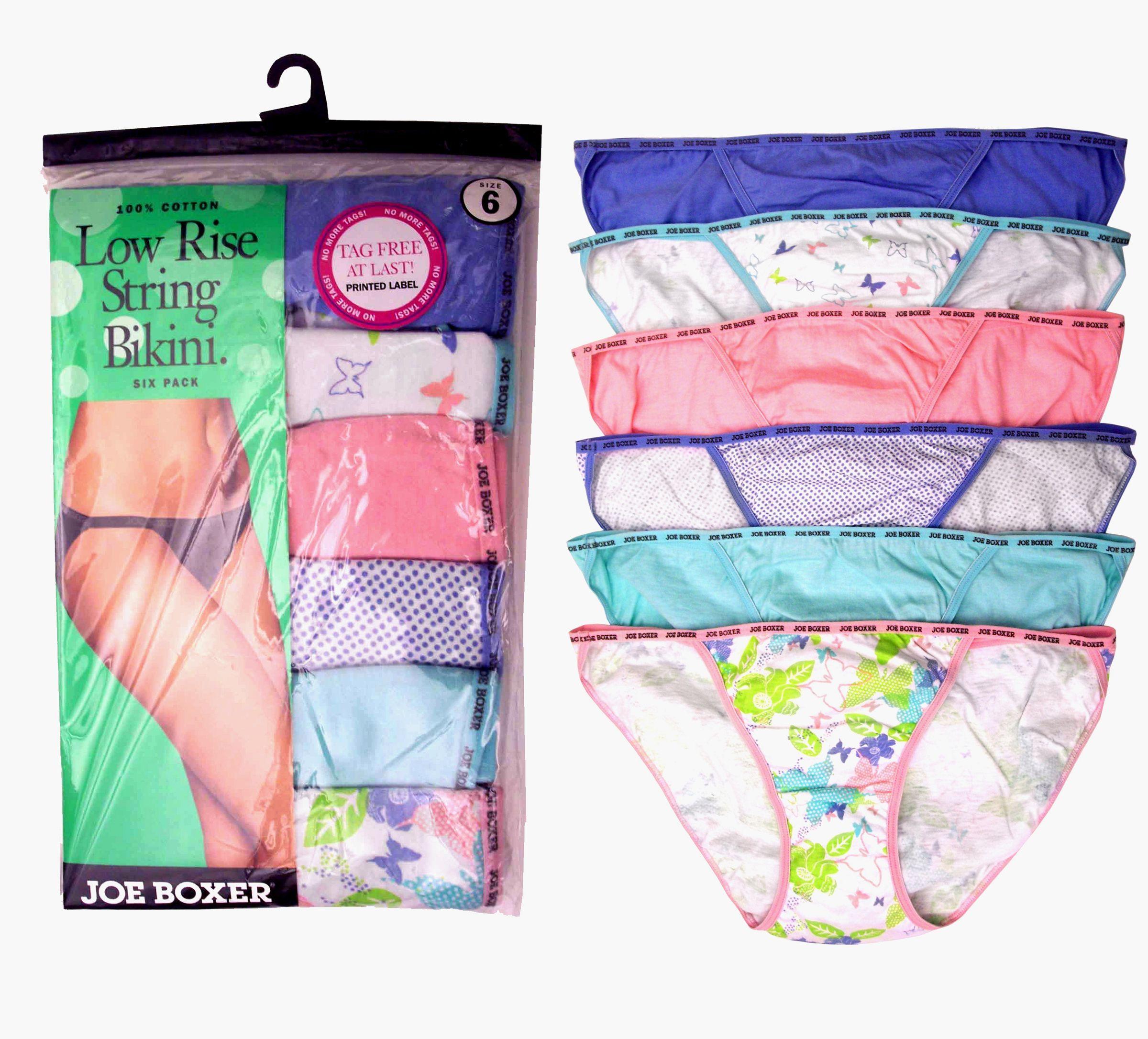 77a0e9e27f88 Joe Boxer Women's 6-pack Assorted LowRise String Bikinis | Ladies ...