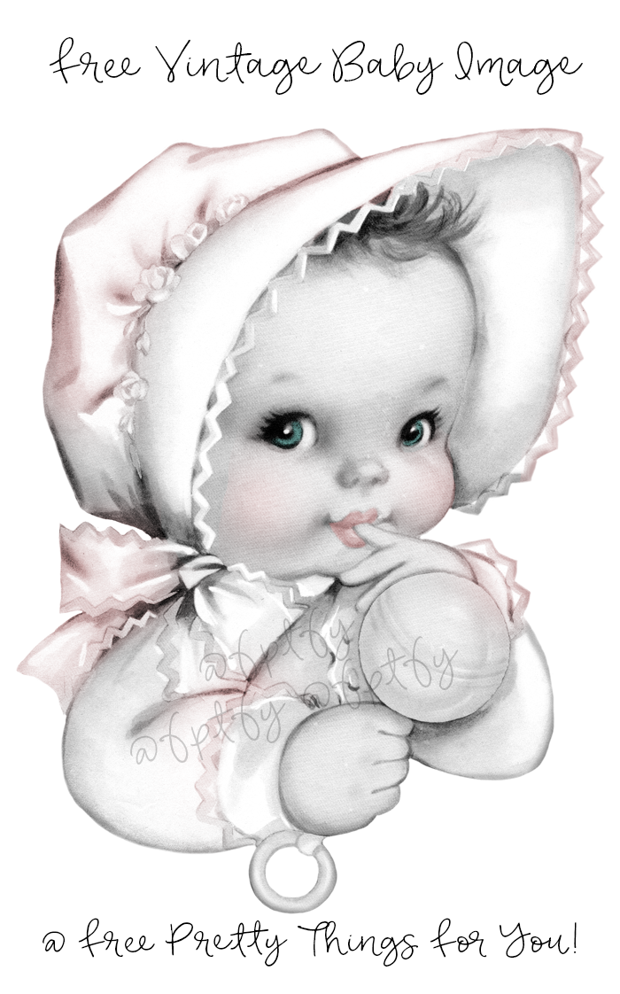 Free Vintage Baby Girl Graphics Baby girl clipart, Baby