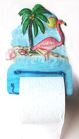 TROPICAL HOME DECOR - Painted metal flamingo toilet paper holder - Bathroom Decor - Tropical Decorating - Find at www.TropicAccents.com