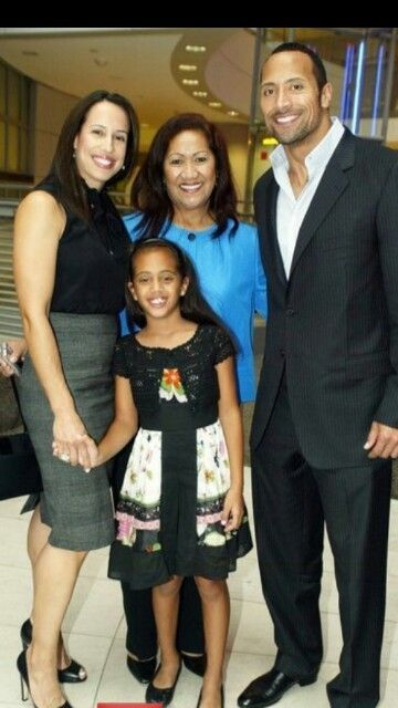 The Rock With His Mother His Daughter And Ex Wife Dwayne