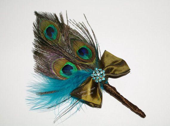 Boutonniere, Peacock Wedding Buttonhole, Bridesmaids Broach