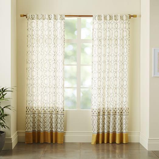 Cotton Canvas Medina Border Curtain   west elm - Dream House   Pinterest