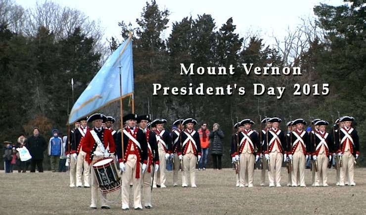 The Old Guard and other U.S. Army Military District of Washington (MDW) spent Presidents' Day 2015 at George Washington's home in Mount Vernon, VA, to honor the first President with a wreath laying, firing demonstration, and musical performance.