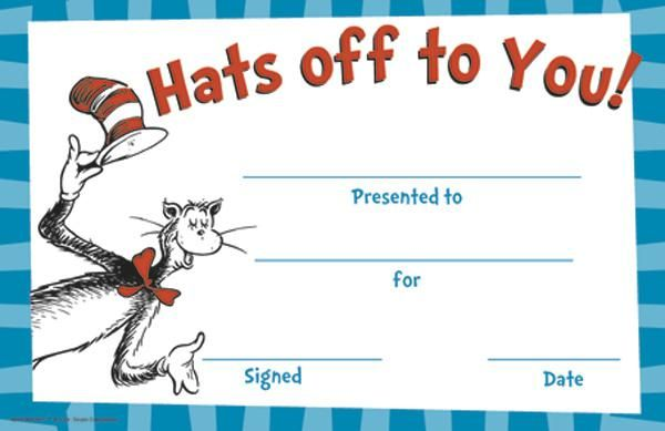 Eureka Cat In The Hat Hats Off To You Award Dr Seuss Classroom
