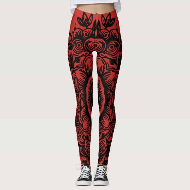 Red with Black Damask Pattern Athletic Leggings #leggingsfor #leggings #bestworkout #black #workout...