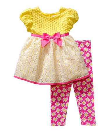 Another great find on #zulily! Yellow & Pink Cap-Sleeve Dress & Leggings - Girls by Youngland #zulilyfinds