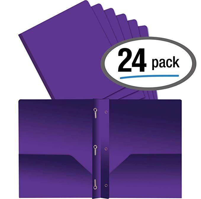 Better Office Products Purple Plastic 2 Pocket Folders
