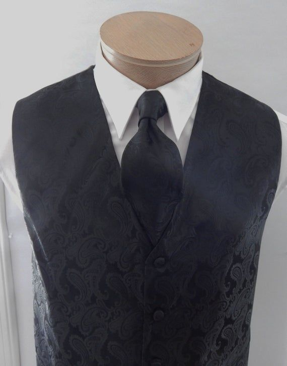 Mens Vest Black  Tone On Tone Satin Paisley Vest Tie And Pocket Square Set #pocketsquares