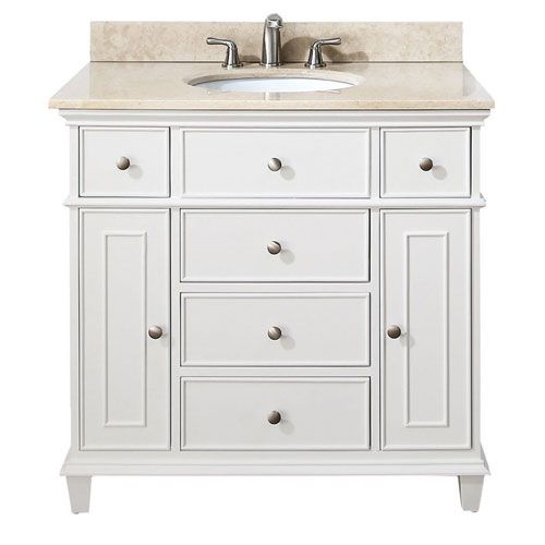 Windsor White 36 Inch Vanity With Galala Beige Marble Top 1325 Faucet Direct 1150