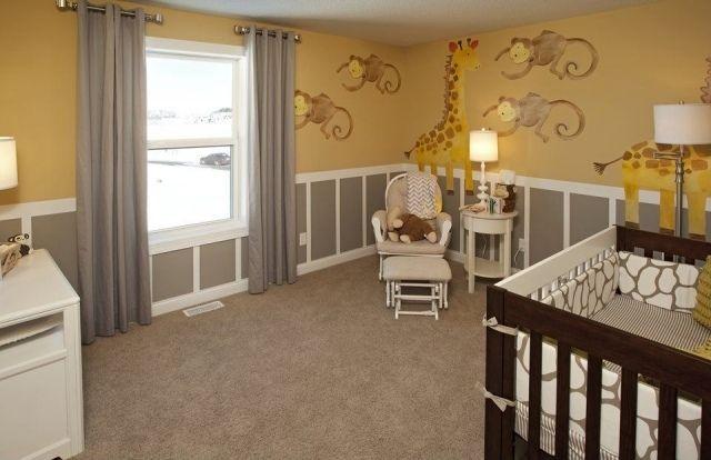 kinderzimmer babyzimmer gelb grau tieren wanddeko | صور ديكورات ...
